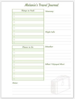 6x8 Journal Custom Travel Checklist Inside Page