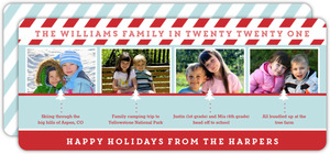 Blue and Red Stripes Timeline Holiday Photo Card