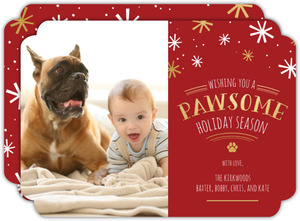 Red Naughty or Nice Pet Holiday Photo Card