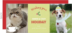 Green Holly Pet Holiday Card