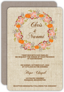 Fall Pumpkin Wreath Wedding Invitation