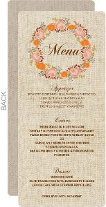 Fall Pumpkin Wreath Wedding Menu Card