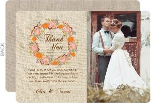 Fall Pumpkin Wreath Wedding Thank You Card