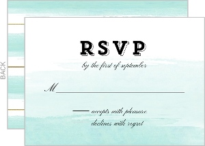 Modern Dip Dyed Watercolor Wedding Response Card