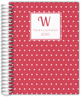 Red Vintage Polka Dot Monogram Mom Planner