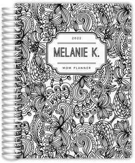 Black and White Floral Pattern Custom Mom Planner
