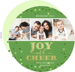 Classic Green Faux Foil Circle Holiday Photo Card