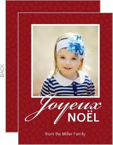Red Linen Joyeux Noel Holiday Photo Card