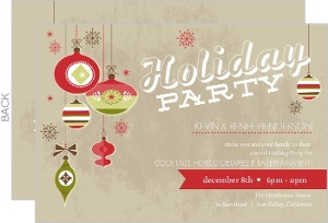 Vintage Red And Green Ornaments Holiday Party Invitation