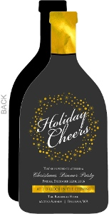 Elegant Faux Gold Foil Champagne Bottle Holiday Party Invitation