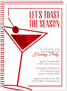 Modern Faux Red Foil Holiday Party Invitation