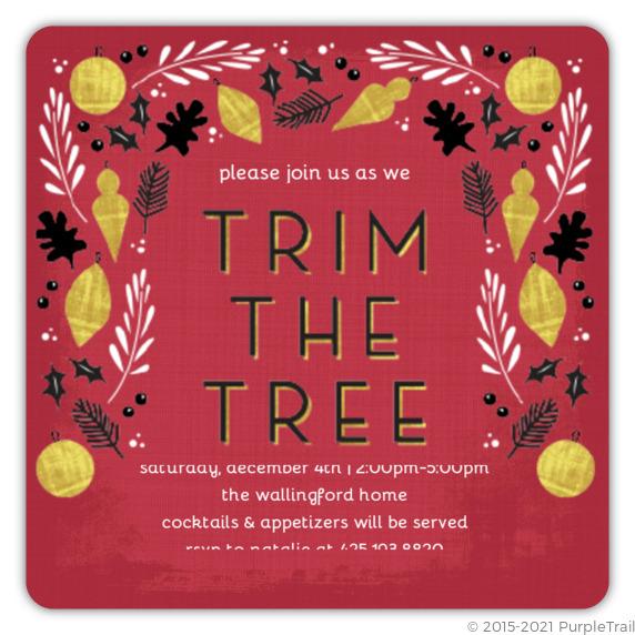 Trim The Tree Party Invitation – Tree Trimming Party Invitation