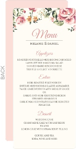 Floral Garden Wedding Menu Card
