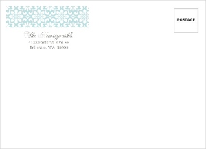 Blue And Gray Sketch Floral Holiday Envelope