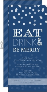 Midnight Blue Snowy Holiday Party Invitation