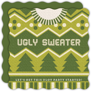 green ugly sweater christmas party invitation - Ugly Sweater Christmas Party Invitations