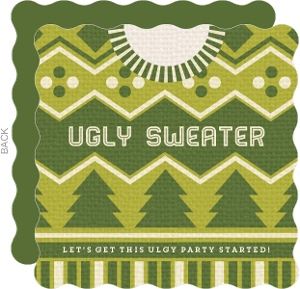 Green Ugly Sweater Christmas Party Invitation
