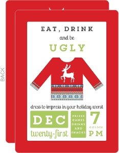 Eat Drink and Be Ugly Sweater Holiday Party Invitation