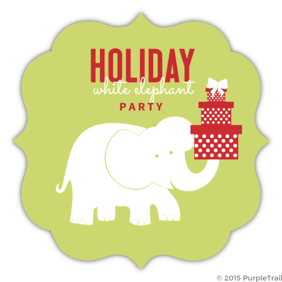 Green Circle White Elephant Party Invitation – Elephant Party Invitations