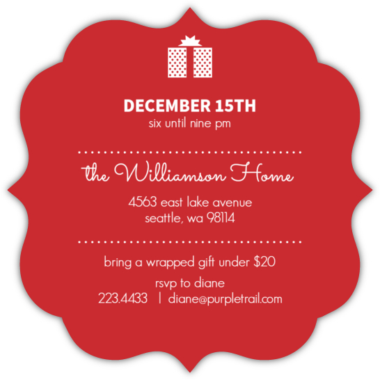 green circle white elephant party invitation  holiday party, party invitations