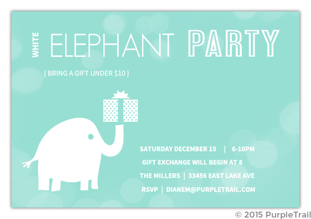 White Elephant Gift Exchange Logo Blue Bubbles White Ele...