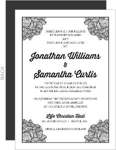 Fancy Cornered Flower Wedding Invitation