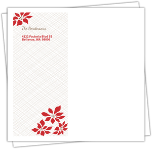 Red Joyful Poinsettia Christmas Envelope