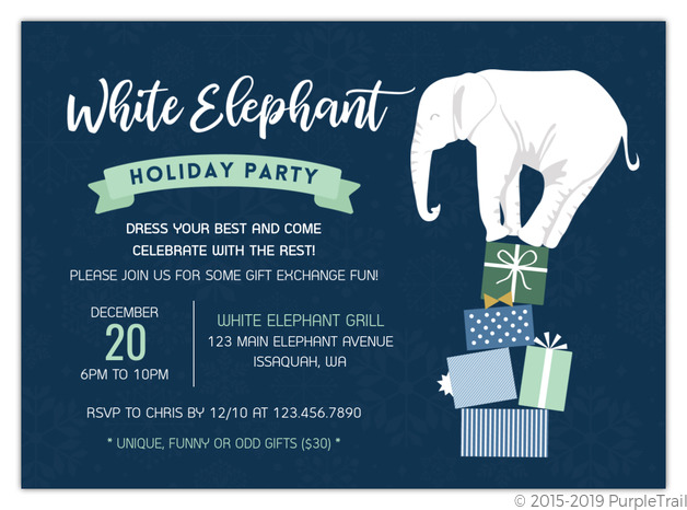 White Elephant Gift Exchange Holiday Party Invitation – Elephant Party Invitations