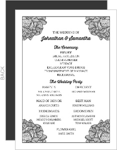 Fancy Cornered Flower Wedding Program