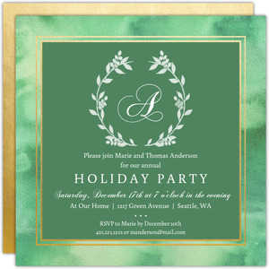 Monogram Watercolor Wreath Holiday Party Invitation
