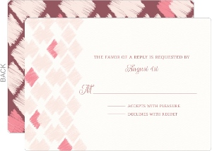 Pink Ikat Pattern Wedding Response Card