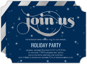 Festive Snowflakes Holiday Party Invitation