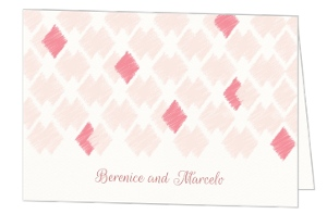 Pink Ikat Pattern Thank You Card