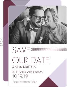 Modern Lavender Monogram Save the Date Announcement