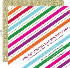 Modern Holiday Stripes Holiday Party Invitation