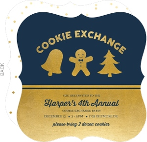 Gold and White Sparkling Icons Cookie Party Invitation