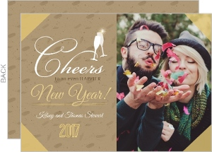 Golden Krafty New Year Photo Card