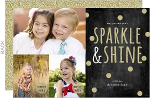 Gold Glitter Dots New Years Card