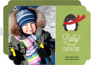 Cute Penguin with Scarf New Years Card