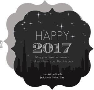 City Skyline New Years Greeting Card