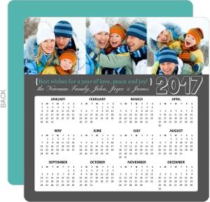 Gray Three Photo New Years Calendar