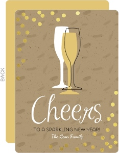 Modern Glass Gold Foil Confetti New Years Card