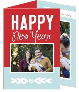 Red and Blue Trifold New Year Photo Card