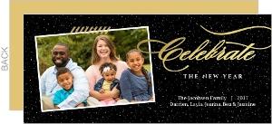 Gold Foil Black Elegant Shine New Years Photo Card