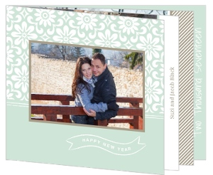 Green and Taupe Flowers New Years Photo Card