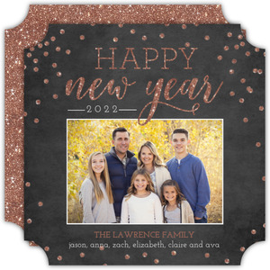 Rose Gold Glitter New Years Photo Card