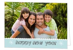 Blue Scalloped New Year Calendar Card
