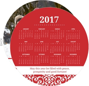 Radiant Red Floral Calendar New Years Card