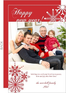 Red and White Snowflakes New Years Card
