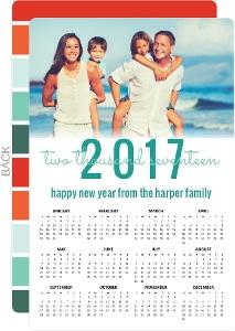 Turquoise Wonderland Wishes Calendar New Years Card